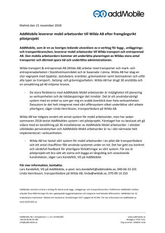 AddMobile levererar mobil arbetsorder till Wilda AB efter framgångsrikt pilotprojekt