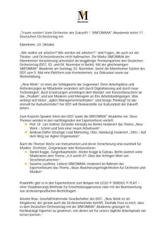 """""""Träum weiter! Vom Orchester der Zukunft."""": SINFONIMA®-Akademie leitet 17. Deutschen Orchestertag ein"""