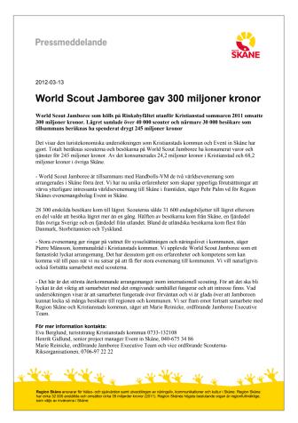 World Scout Jamboree gav 300 miljoner kronor