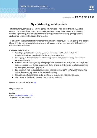 Ny arkivløsning for store data