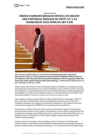 FIROUZ FARMANFARMAIAN UNVEILS AN URGENT AND UNIVERSAL MESSAGE OF UNITY AT 1-54 MARRAKECH AFRICAN ART FAIR 2020