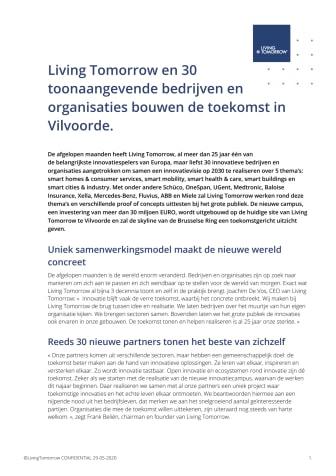 Living Tomorrow en 30  toonaangevende bedrijven en organisaties bouwen de toekomst in Vilvoorde