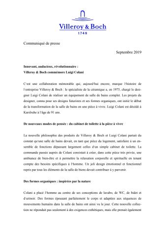 Innovant, audacieux, révolutionnaire :  Villeroy & Boch commémore Luigi Colani