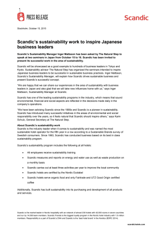 Scandic's sustainability work to inspire Japanese business leaders