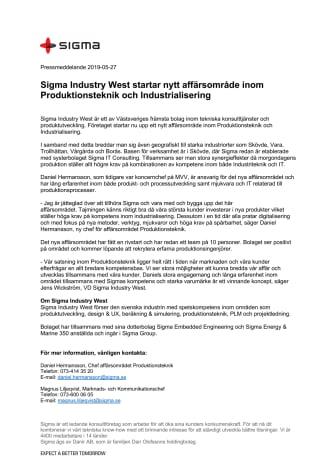 Sigma Industry West startar nytt affärsområde inom Produktionsteknik och Industrialisering