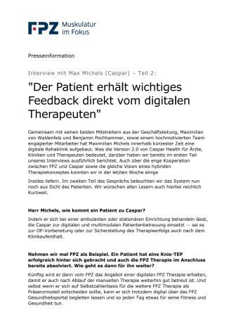 """Interview mit Max Michels (Caspar) – Teil 2:  """"Der Patient erhält wichtiges Feedback direkt vom digitalen Therapeuten"""""""