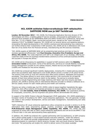 HCL AXON esittelee lisäarvoratkaisuja SAP ratkaisuihin SAPPHIRE NOW:ssa ja SAP TechEd:ssä