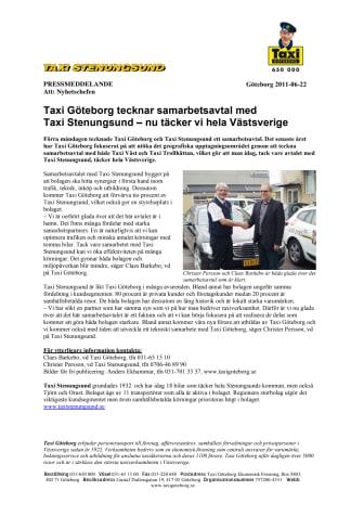 Taxi Göteborg tecknar samarbetsavtal med  Taxi Stenungsund – nu täcker vi hela Västsverige