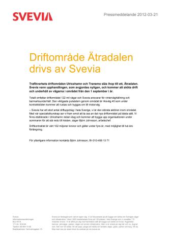 Driftområde Ätradalen drivs av Svevia