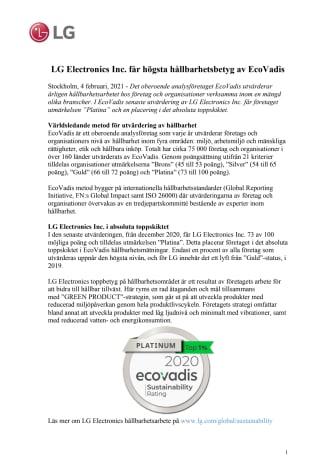 LG Electronics Inc. får högsta hållbarhetsbetyg av EcoVadis