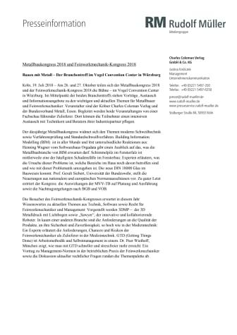 Metallbaukongress 2018 und Feinwerkmechanik-Kongress 2018
