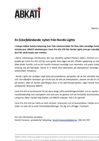 En (icke)bländande nyhet från Nordic Lights