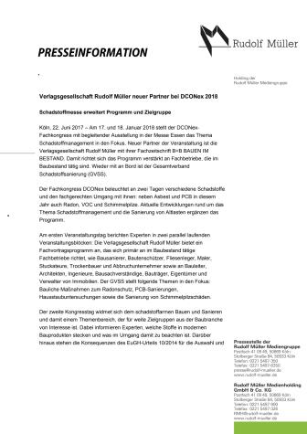 Verlagsgesellschaft Rudolf Müller neuer Partner bei DCONex 2018