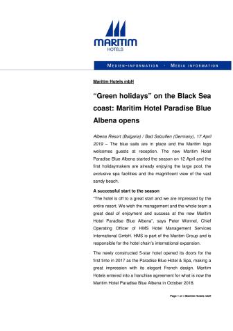 """Green holidays"" on the Black Sea coast: Maritim Hotel Paradise Blue Albena opens"