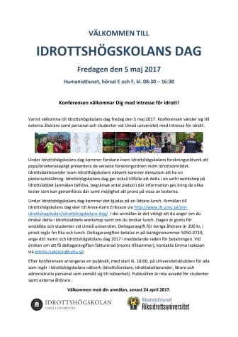 Späckat program på Idrottshögskolans dag 5 maj i Umeå