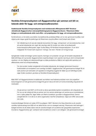 Nordiska Entreprenadsystem och Byggsamverkan går samman och blir en ledande aktör för bygg- och entreprenadbranschen