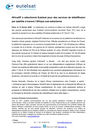 AfricaXP a sélectionné Eutelsat pour des services de télédiffusion par satellite à travers l'Afrique sub-saharienne