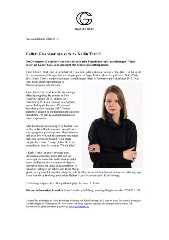 Karin Törnell visar nya verk på Galleri Glas