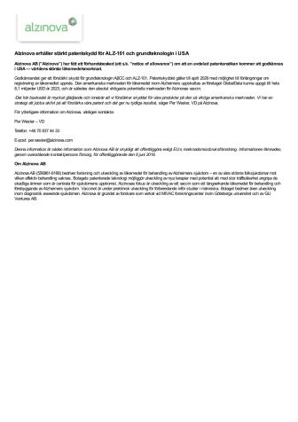 Alzinova erhåller stärkt patentskydd för ALZ-101 och grundteknologin i USA