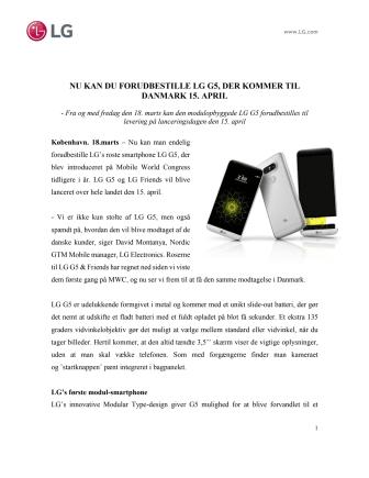 NU KAN DU FORUDBESTILLE LG G5, DER KOMMER TIL DANMARK 15. APRIL
