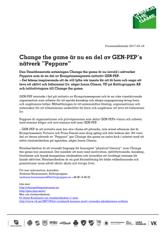 """Change the game är nu en del av GEN-PEP´s nätverk """"Peppare"""""""