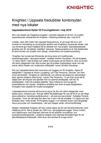 Knightec i Uppsala tredubblar kontorsytan  med nya lokaler