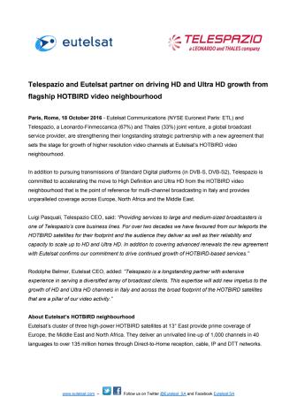Telespazio and Eutelsat partner on driving HD and Ultra HD growth from flagship HOTBIRD video neighbourhood