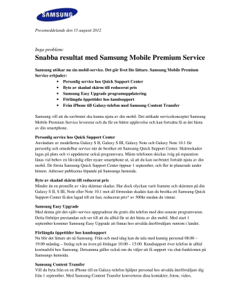 Inga problem: Snabba resultat med Samsung Mobile Premium Service