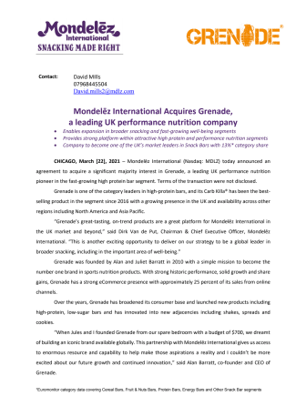 Mondelēz International Acquires Grenade release.pdf