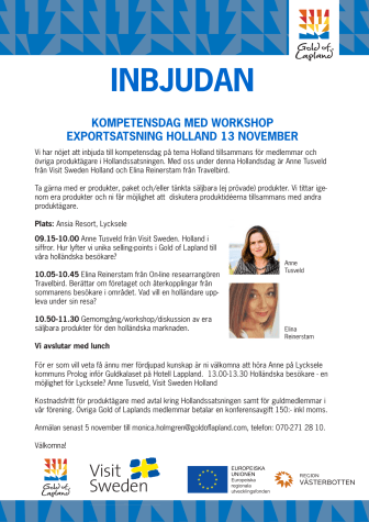 INBJUDAN KOMPETENSDAG MED WORKSHOP EXPORTSATSNING HOLLAND 13 NOVEMBER