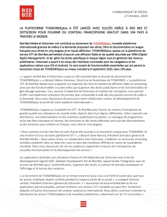 LA PLATEFORME TV5MONDEplus A ÉTÉ LANCÉE AVEC SUCCÈS GRÂCE À RED BEE ET DOTSCREEN POUR FOURNIR DU CONTENU FRANCOPHONE GRATUIT DANS 194 PAYS À TRAVERS LE MONDE