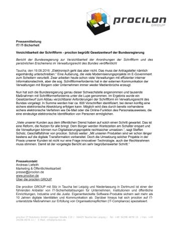 Verzichtbarkeit der Schriftform - procilon begrüßt Gesetzentwurf der Bundesregierung