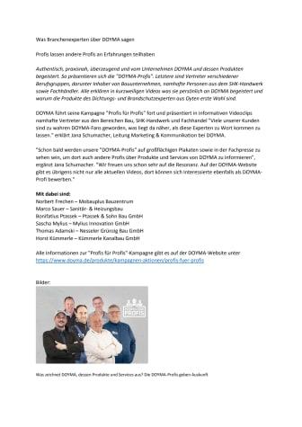 DOYMA-Pressemitteilung: Was Branchenexperten über DOYMA sagen