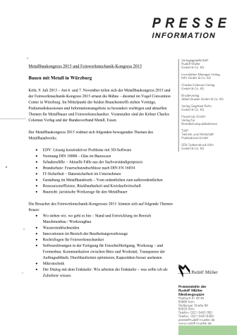 Metallbaukongress 2015 & Feinwerkmechanik-Kongress 2015