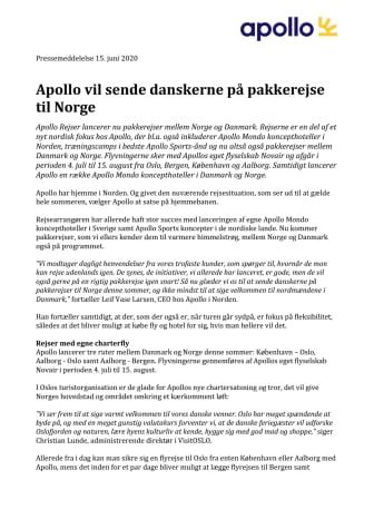 Apollo vil sende danskerne på pakkerejse til Norge