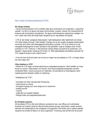 Om venös tromboembolism (VTE)
