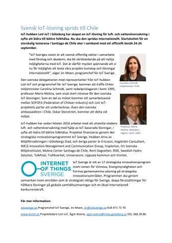 Svensk IoT-lösning sprids till Chile