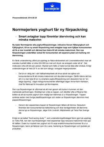 Norrmejeriers yoghurt får ny förpackning - smart avtagbar topp förenklar återvinning och kan minska matsvinn