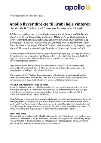 Apollo flyver direkte til Krabi hele vinteren