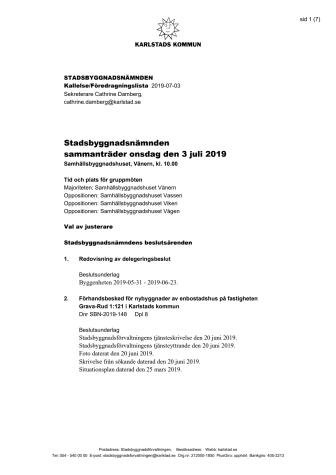 Kallelse/föredragningslista