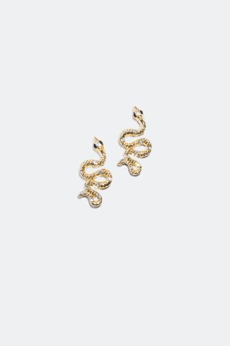 Ormformade örhängen med glasstenar