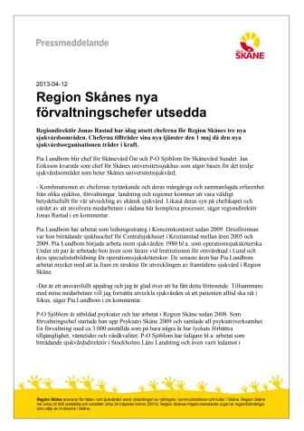 Region Skånes nya förvaltningschefer utsedda