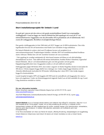 Stort installationsprojekt för Imtech i Lund