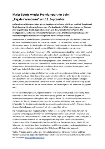 """Maier Sports wieder Premiumpartner beim """"Tag des Wanderns"""" am 18. September"""