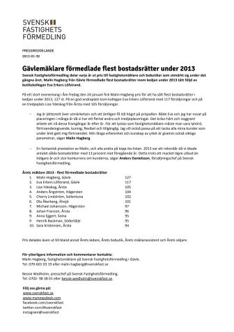 Gävlemäklare förmedlade flest bostadsrätter under 2013
