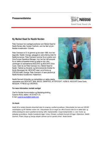 Ny Market Head for Nestlé Norden