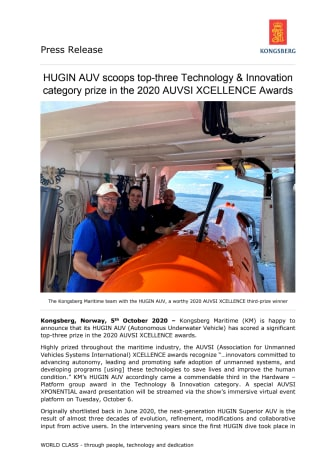 HUGIN AUV scoops top-three Technology & Innovation category prize in the 2020 AUVSI XCELLENCE Awards