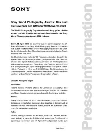 Sony World Photography Awards: Das sind die Gewinner des Offenen Wettbewerbs 2020