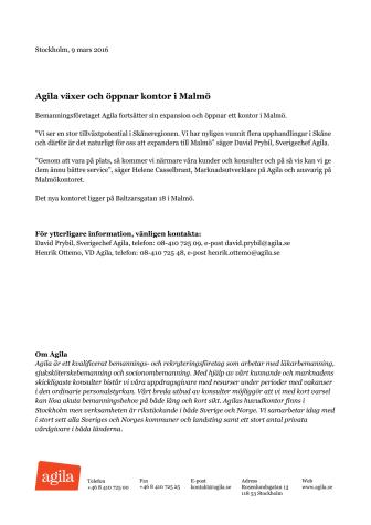 Agila växer och öppnar kontor i Malmö
