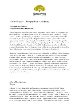 Medverkande / Biographies Ariodante